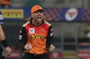 David Warner is overjoyed after taking the catch to send back Sunil Narine, Kolkata Knight Riders vs Sunrisers Hyderabad, IPL 2020, Abu Dhabi, September 26, 2020