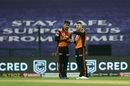 Rashid Khan and David Warner have a chat in the middle, Kolkata Knight Riders v Sunrisers Hyderabad, IPL 2020, Abu Dhabi, September 26, 2020