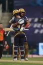 Shubman Gill and Eoin Morgan embrace after bringing up the winning runs, Kolkata Knight Riders v Sunrisers Hyderabad, IPL 2020, Abu Dhabi, September 26, 2020