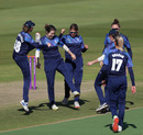 Katie Levick celebrates a wicket with her Northern Diamonds team-mates, Rachael Heyhoe Flint Trophy Final, Southern Vipers v Northern Diamonds, Edgbaston, September 27, 2020