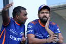 Mahela Jayawardene and Rohit Sharma plan things before the game, Mumbai Indians v Royal Challengers Bangalore, IPL 2020, Dubai, September 28, 2020