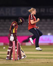 Katherine Brunt celebrates the big wicket of Deandra Dottin, England vs West Indies, 4th T20I, Derby, September 28, 2020