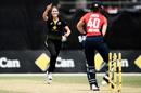 Tayla Vlaeminck takes the wicket of Amy Jones, Australia v England, T20I tri-series, Junction Oval, February 9, 2020
