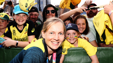 Meg Lanning poses for photos with young fans