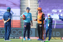 Ricky Ponting and Trevor Bayliss catch up near the pitch, Sunrisers Hyderabad v Delhi Capitals, IPL 2020, Abu Dhabi, September 29, 2020