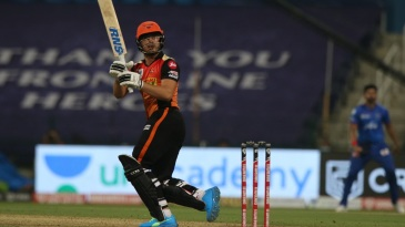 Abdul Samad slams one away to the boundary on IPL debut
