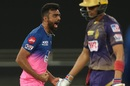 Jaydev Unadkat got Rajasthan Royals' first breakthrough, Rajasthan Royals v Kolkata Knight Riders, IPL 2020, Dubai, September 30, 2020