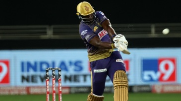 Andre Russell launches one onto the leg side