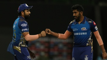 Rohit Sharma and Jasprit Bumrah celebrate Mumbai Indians' win over Kings XI Punjab