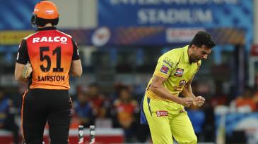Deepak Chahar is pumped up after dismissing Jonny Bairstow