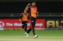 Bhuvneshwar Kumar celebrates the wicket of Shane Watson, Chennai Super Kings v Sunrisers Hyderabad, IPL 2020, Dubai, October 2, 2020
