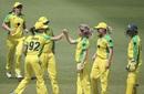Nicola Carey celebrates the dismissal of Katie Perkins, Australia v New Zealand, 1st women's ODI, Brisbane, October 3, 2020