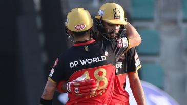 Devdutt Padikkal gets a hug from Virat Kohli after reaching his half-century