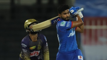 Shreyas Iyer hammers one down the ground