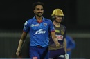 Harshal Patel is all smiles after picking up a wicket, Delhi Capitals vs Kolkata Knight Riders, IPL 2020, Sharjah, October 3, 2020