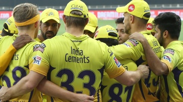 Chennai Super Kings get into a huddle before the match