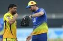MS Dhoni and Stephen Fleming have a chat, Chennai Super Kings vs Kings XI Punjab, IPL 2020, Dubai, October 4, 2020