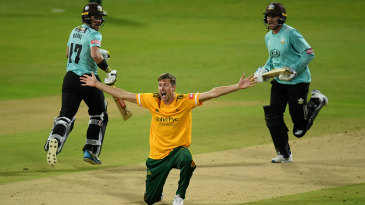 Jake Ball appeals successfully for the wicket of Jason Roy