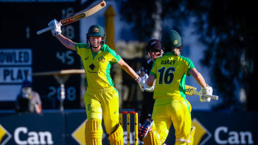 Meg Lanning completes her century with the winning boundary