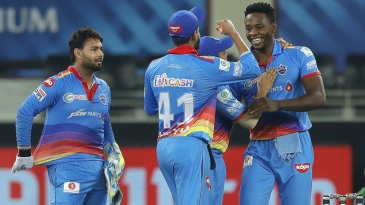 Kagiso Rabada celebrates with his team-mates