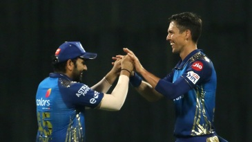 Rohit Sharma and Trent Boult celebrate the fall of Sanju Samson's wicket