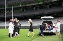 Loved ones pay respect to Dean Jones at a private service at the MCG, Melbourne, October 4, 2020