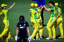 Annabel Sutherland celebrates the wicket of Natalie Dodd, Australia v New Zealand, 3rd women's ODI, Allan Border Field, October 7, 2020