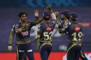 Kolkata Knight Riders celebrate the wicket of Faf du Plessis, Kolkata Knight Riders vs Chennai Super Kings, IPL 2020, Abu Dhabi, October 7, 2020