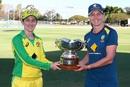 Captains' shot: Rachael Haynes and Meg Lanning pose with the Rose Bowl series trophy, Australia women vs New Zealand women, 3rd women's ODI, Brisbane, October 7, 2020