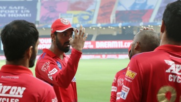 An animated KL Rahul addresses his team ahead of play
