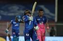 Shimron Hetmyer reacts after falling to Kartik Tyagi, Rajasthan Royals vs Delhi Capitals, IPL 2020, Sharjah, October 9, 2020