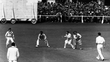 Don Bradman on his way to a century in the tour game