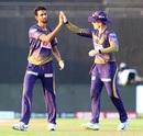 Prasidh Krishna ended the 115-run first-wicket stand with Mayank Agarwal's wicket, Kings XI Punjab vs Kolkata Knight Riders, IPL 2020, Abu Dhabi, October 10, 2020