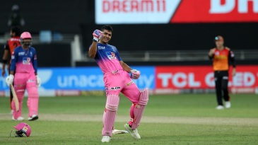 Riyan Parag does a celebratory jig after taking the Royals home with a six