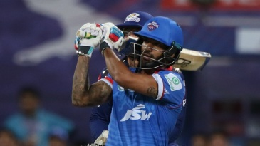 Shikhar Dhawan hits over the leg-side field