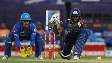 Suryakumar Yadav gets into position to sweep