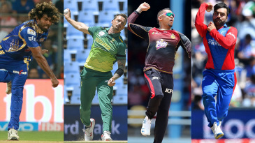 Composite: Lasith Malinga, Dale Steyn, Sunil Narine and Rashid Khan