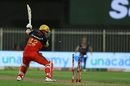 Aaron Finch looks back to see his stumps disturbed, Royal Challengers Bangalore vs Kolkata Knight Riders, IPL 2020, Sharjah, October 12, 2020