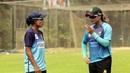 Salma Khatun and Jahanara Alam discuss a point during training, Sher-e-Bangla National Stadium, Dhaka, October 13, 2020