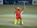 Danish Aziz celebrates after hitting a match-winning last-ball six, Khyber Pakhtunkhwa vs Sindh, National T20 Cup, Rawalpindi, October 13, 2020