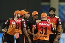 Khaleel Ahmed is congratulated for a wicket, Sunrisers Hyderabad vs Chennai Super Kings, IPL 2020, Dubai, October 13, 2020