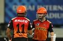 Kane Williamson has a word with Priyam Garg, Sunrisers Hyderabad vs Chennai Super Kings, IPL 2020, Dubai, October 13, 2020