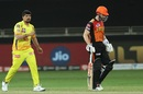 Karn Sharma reacts after getting the wicket of Kane Williamson, Sunrisers Hyderabad vs Chennai Super Kings, IPL 2020, Dubai, October 13, 2020