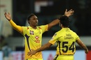 Dwayne Bravo celebrates a wicket with Shardul Thakur, Sunrisers Hyderabad vs Chennai Super Kings, IPL 2020, Dubai, October 13, 2020