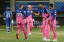 Kartik Tyagi celebrates a wicket with Steven Smith, Delhi Capitals vs Rajasthan Royals, IPL 2020, Dubai, October 14, 2020