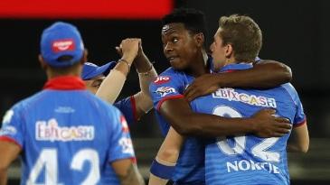 Kagiso Rabada congratulates Anrich Nortje for a wicket