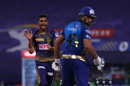 Shivam Mavi is excited after having Rohit Sharma caught behind, Kolkata Knight Riders vs Mumbai Indians, IPL 2020, Abu Dhabi, October 16, 2020