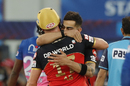 Virat Kohli hugs AB de Villiers after the win, Rajasthan Royals vs Royal Challengers Bangalore, Dubai, IPL 2020, October 17, 2020