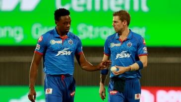 Kagiso Rabada and Anrich Nortje compare notes