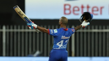 Shikhar Dhawan celebrates after the win